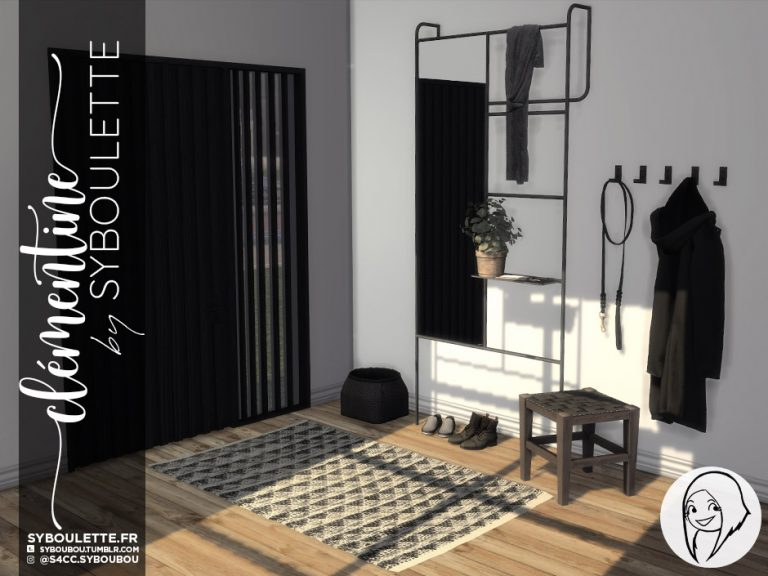 hallway cc sims 4 with mirror, stool, letters, keys